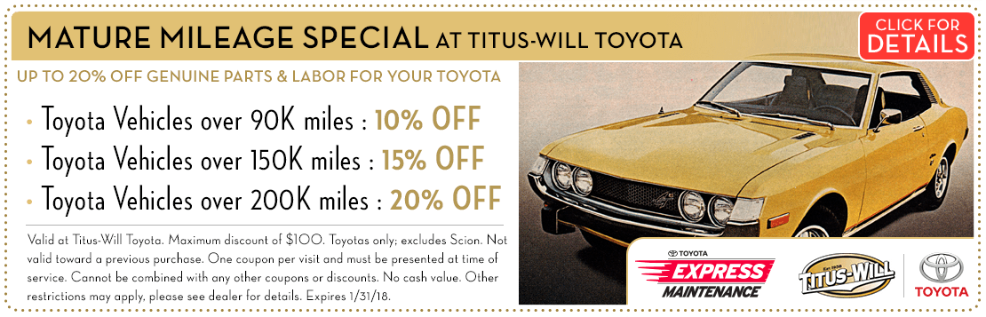 Toyota Mature Mileage Service Special savings Serving Tacoma, WA. Click for Details.