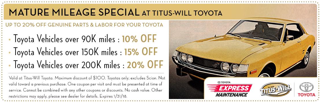 Mature Mileage service special at Titus-Will Toyota in Tacoma, WA