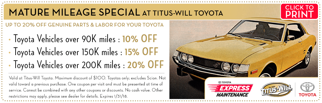 Click to print this Mature Mileage service special from Titus-Will Toyota