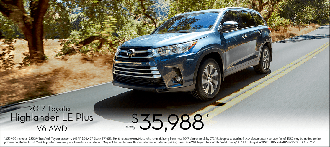 2017 Toyota Highlander LE Plus Special Sales Offer in Tacoma, WA