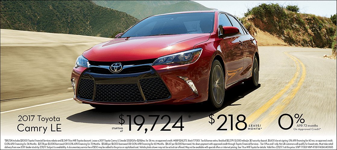 2017 Toyota Camry LE Special Sales Offers in Tacoma, WA