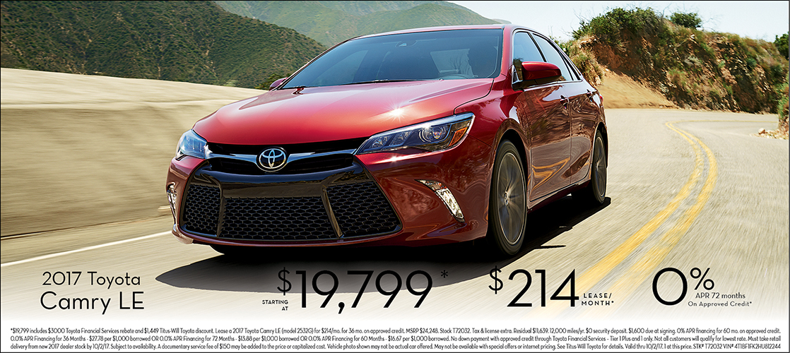 Save on a new 2017 Camry LE at Titus Will Toyota in Tacoma, WA