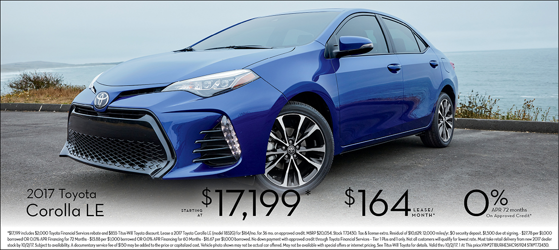Get a great deal on a 2017 Corolla LE at Titus Will Toyota in Tacoma, WA