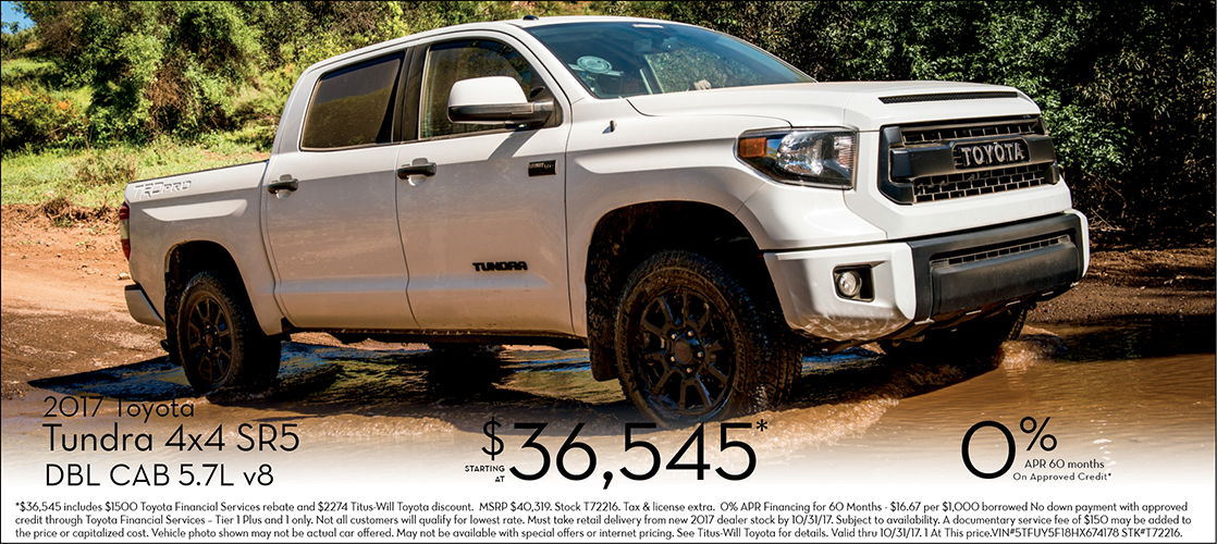 Save on 2017 Tundra 4x4 SR5 Double Cab with our special lease or purchase offers at Titus Will Toyota in Tacoma, WA