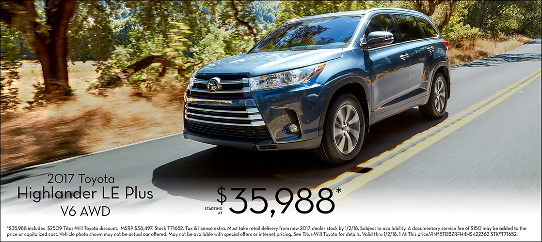 Save on a new 2017 Highlander LE Plus V6 AWD at Titus Will Toyota in Tacoma, WA