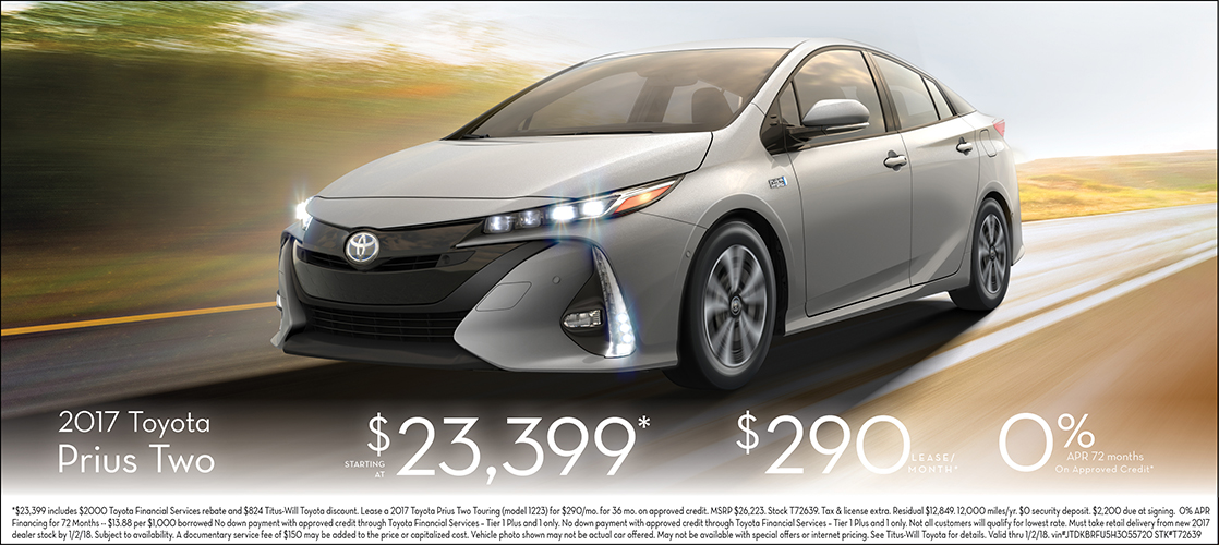 Save on 2017 Prius Two with our special lease or purchase offers at Titus Will Toyota in Tacoma, WA