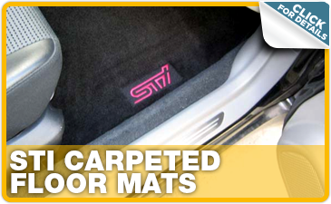 Click to research Subaru STI carpeted floor mats performance parts in Indianapolis, IN
