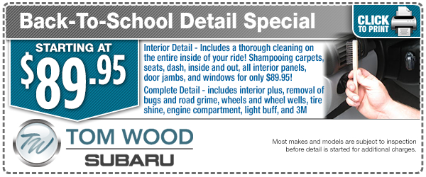 Back To School Detail Special Service Savings