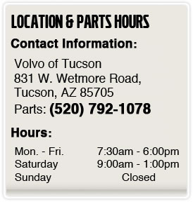 Volvo of Tucson Parts Department Hours, Location, Contact Information