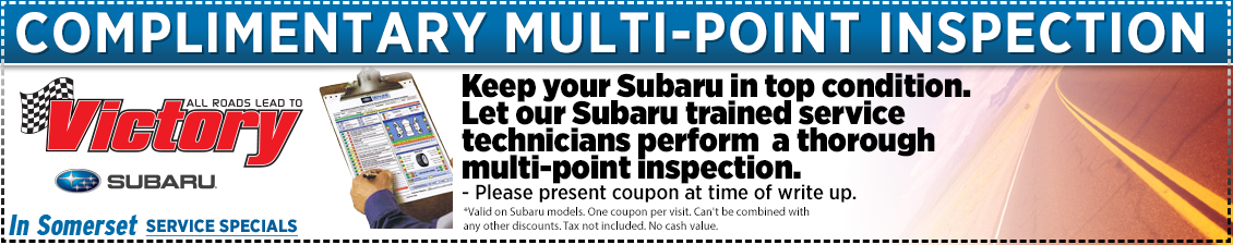 Save with this Somerset, NJ Special offer on Subaru No-charge multi-point inspection service at Victory Subaru serving Princeton, NJ