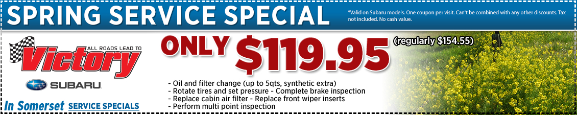 Save with this Somerset, NJ Special offer on Subaru Spring Service Package at Victory Subaru serving Princeton, NJ