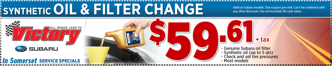 Save with this Somerset, NJ Special offer on Subaru synthetic oil change service at Victory Subaru serving Princeton, NJ