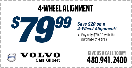 Save on 4-Wheel Alignment Service at Volvo Cars Gilbert serving Phoenix, AZ