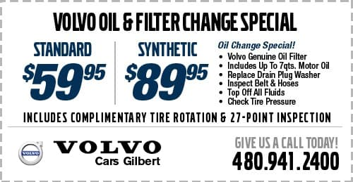 Oil & Filter Change Service Special at Volvo Cars Gilbert serving Scottsdale, AZ