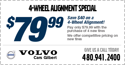 Click to view our 4-wheel alignment service special at Volvo Cars Gilbert
