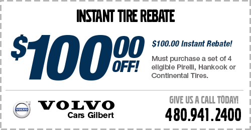 Click to view our Volvo Tire Replacement Rebates service special at Volvo Cars Gilbert