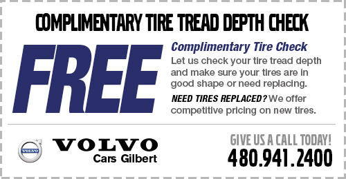 Click to view our tire depth check service special at Volvo Cars Gilbert
