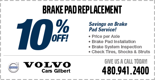 Save with our Volvo Genuine Brake Pad Replacement Service Special at Volvo Cars Gilbert serving Mesa, AZ