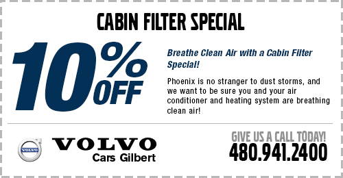 Cabin Air Filter Service Special at Volvo Cars Gilbert