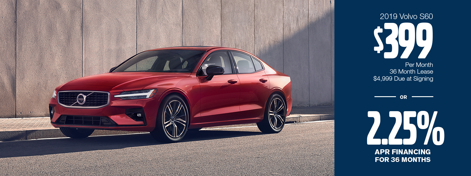 New 2019 S60 Finance or Low Payment Lease Special at Volvo Cars Gilbert