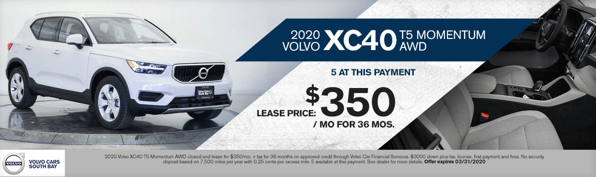 2020 Volvo XC40 T5 Momentum AWD Lease Special in Torrance, CA