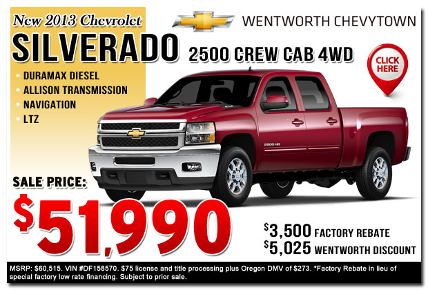 New 2013 Chevy Silverado 2500HD LTZ Commercial Truck Special serving Portland, Oregon