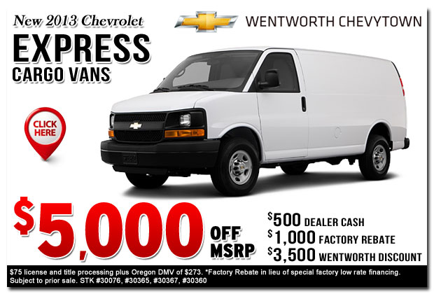 New 2013 Chevy Express Cargo Van Commercial Truck Special Offer serving Portland, Oregon