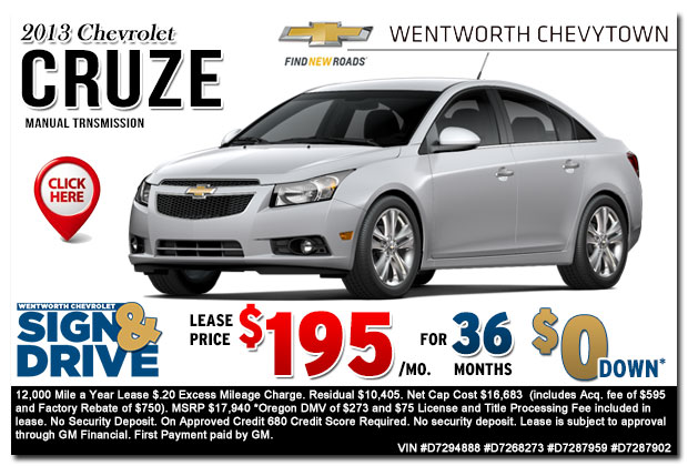 New 2013 Chevy Cruze Manual Transmission Sign & Drive Lease Special Offer serving Portland, OR