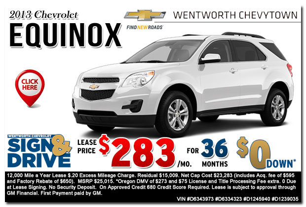 New 2013 Chevy Equinox Sign & Drive Lease Special Offer serving Portland, OR