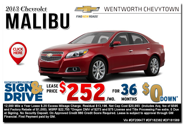 New 2013 Chevy Malibu Sign & Drive Lease Special Offer serving Portland, OR