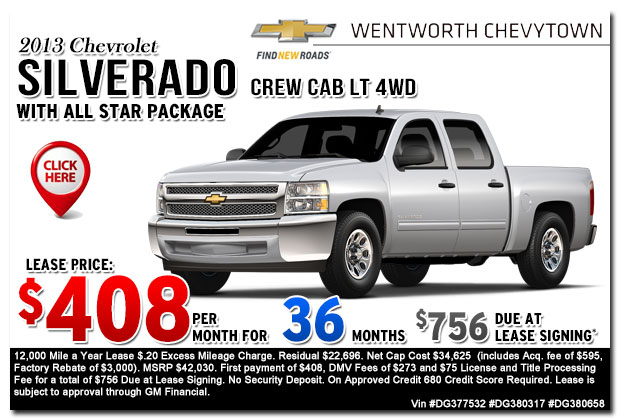 New 2013 Chevy Silverado LT Crew Cab 4WD Sign & Drive Lease Special Offer serving Portland, OR