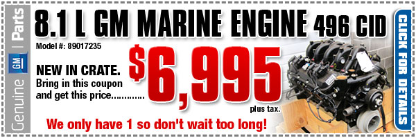 GM 8.1 liter Marine Engine Discount Coupon serving Portland, Oregon