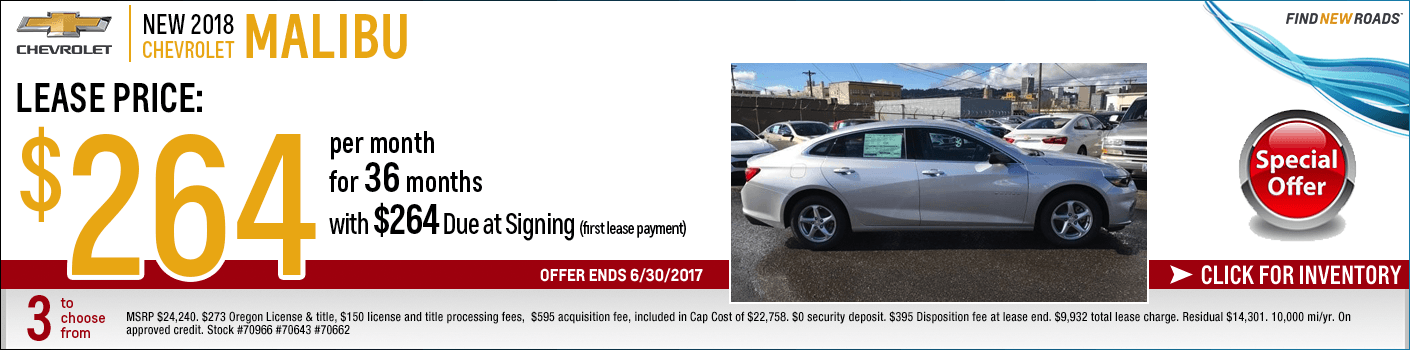 New Chevy Lease Specials In Oregon Portland Chevrolet