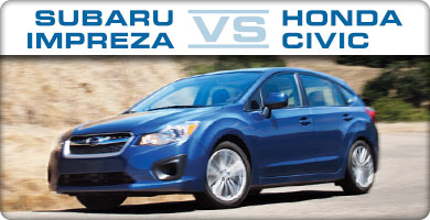 Subaru Impreza vs Honda Civic Comparison serving Portland, Oregon City, Vancouver, Beaverton, and Gresham