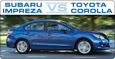 Subaru Impreza vs Toyota Corolla Comparison serving Portland, Oregon City, Vancouver, Beaverton, and Gresham
