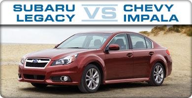 Subaru Legacy vs Chevy Impala Comparison serving Portland, Oregon City, Vancouver, Beaverton, and Gresham