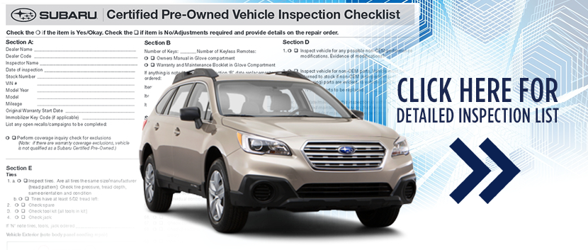 Subaru Certified Pre-Owned 152-Point Checklist PDF Download