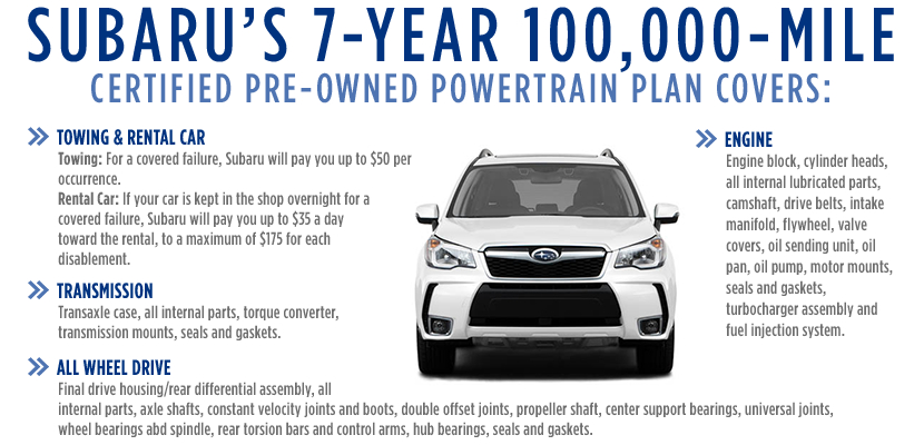 Subaru Certified Pre-Owned 7 year / 100,000 Mile Powertrain Warranty