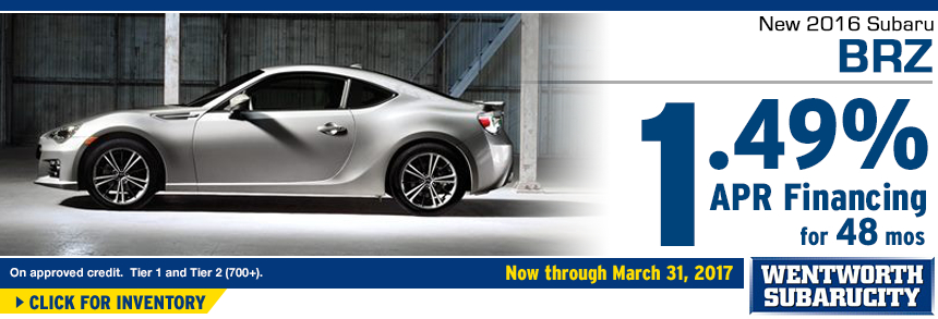 Click to View Our 2016 BRZ inventory and save with 1.49% APR for 48 Months Financing Special at Wentworth Subaru