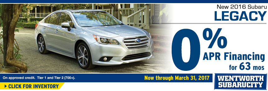 Click to View Our 2016 Legacy inventory and save with 0% APR for 60 Months Financing Special at Wentworth Subaru