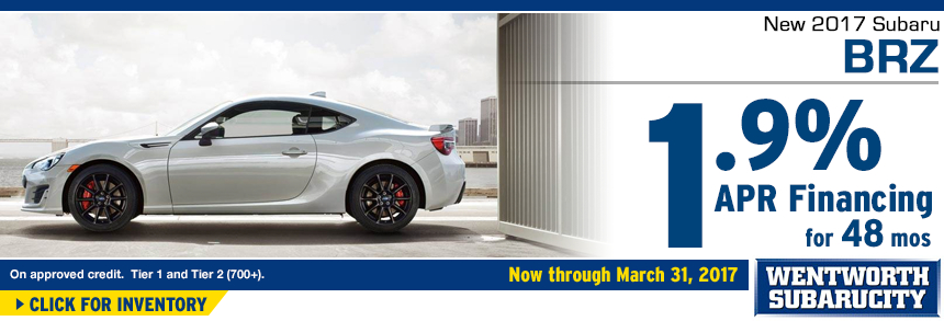 Click to View Our 2017 BRZ inventory and save with 1.9% APR for 48 Months Financing Special at Wentworth Subaru