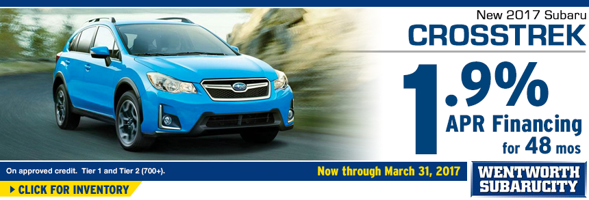 Click to View Our 2017 Crosstrek inventory and save with 1.9% APR for 48 Months Financing Special at Wentworth Subaru