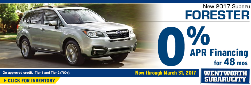 Click to View Our 2017 Forester inventory and save with 0% APR for 48 Months Financing Special at Wentworth Subaru