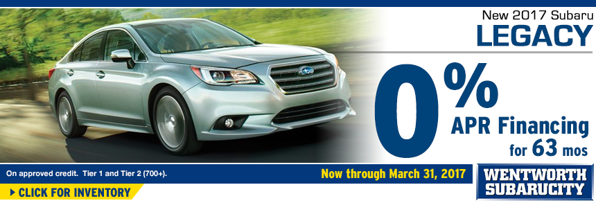 Click to View Our 2017 Legacy inventory and save with 0% APR for 48 Months Financing Special at Wentworth Subaru