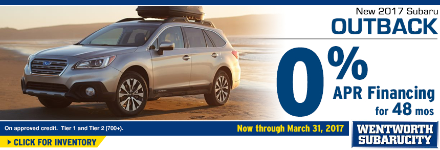 Click to View Our 2017 Outback inventory and save with 0% APR for 48 Months Financing Special at Wentworth Subaru