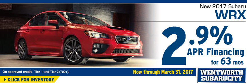 Click to View Our 2017 WRX inventory and save with 2.9% APR for 63 Months Financing Special at Wentworth Subaru