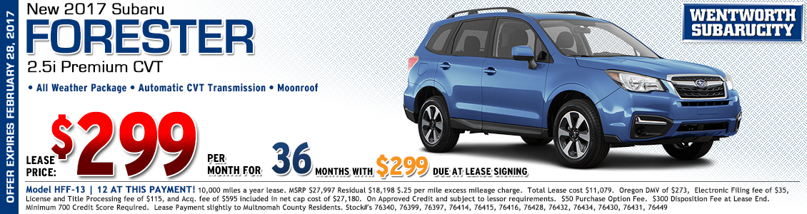 Save at Wentworth Subaru in Portland, OR with this great lease offer on a new 2017 Subaru Forester 2.5i Premium with CVT automatic