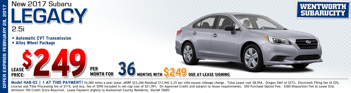 Save at Wentworth Subaru in Portland, OR with this great lease offer on a new 2017 Subaru Legacy 2.5i