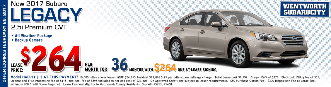 Save at Wentworth Subaru in Portland, OR with this great lease offer on a new 2017 Subaru Legacy 2.5i Premium