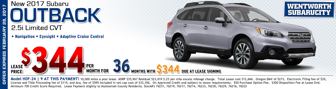Save at Wentworth Subaru in Portland, OR with this great lease offer on a new 2017 Subaru Outback 2.5i Limited